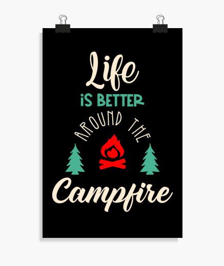 Poster affiche d'aventure de camping en...