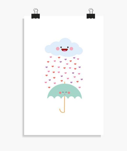 Poster aime la pluie