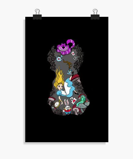 Poster Alice cadere per foro