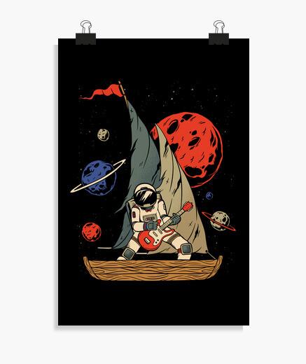 Póster astronauta pirata de la roca espacial