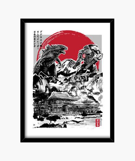 Cadre attack le temple japonais