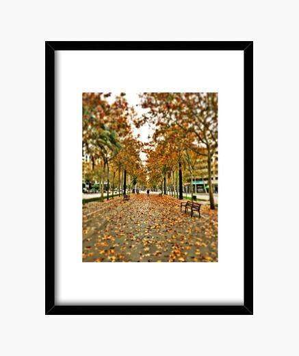 Autumn - frame with black vertical frame 3: 4 (15 x 20 cm) framed print