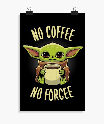 Póster Baby yoda Coffee - Grogu Mandalorian