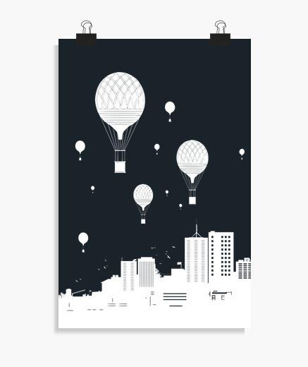 Poster ballloons et la ville