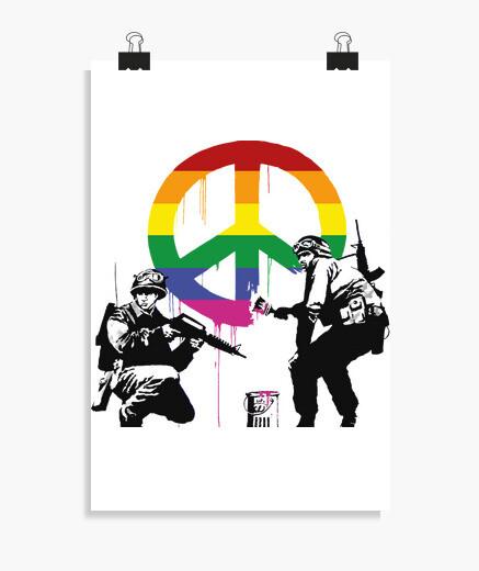 Póster Banksy soldados de la paz LGTB