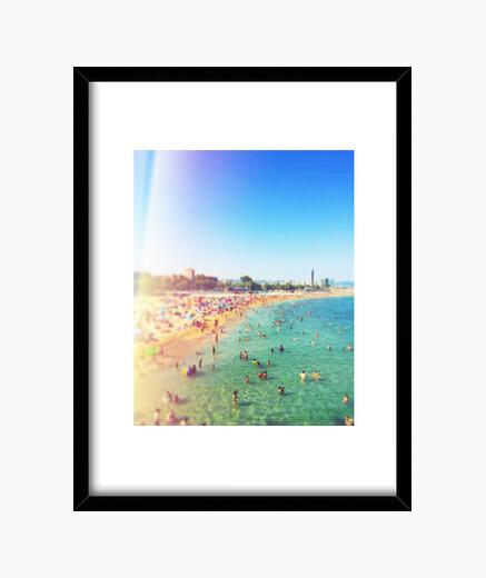 Barcelona beach - frame with vertical black frame 3: 4 (15 x 20 cm) framed print