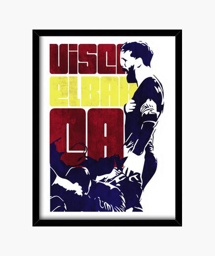 Barcelona messi & fan club framed print