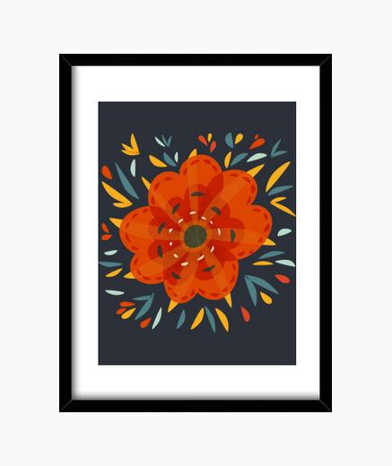 Cuadro Beautiful Decorative Orange Flower