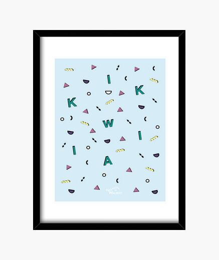 Blue geometric (wallart) framed print