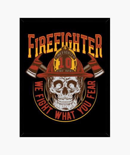 Cadre boîte rétro pompiers skull vintage pompier