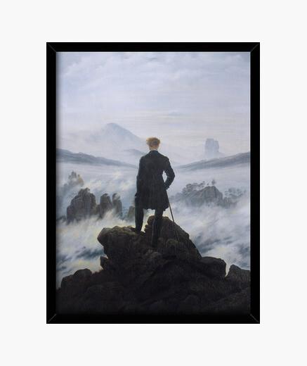 Cadre le voyageur contemplant une mer de...
