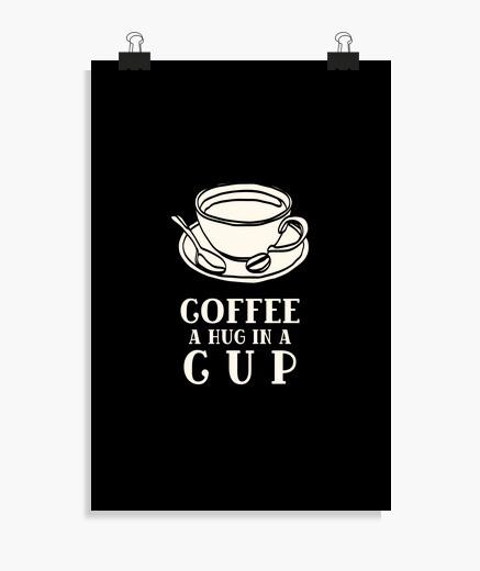 Póster café un abrazo en una taza