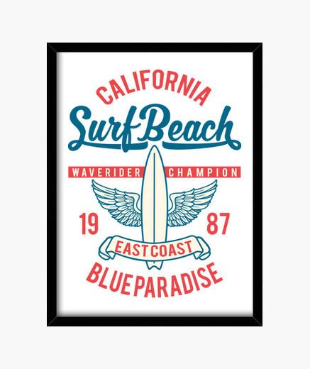 Cadre californie surf plage 1987 surf...