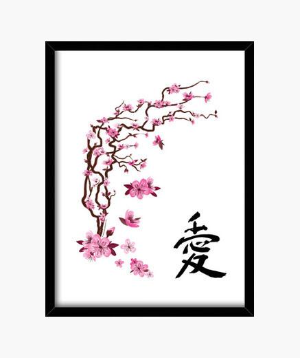 """Cuadro Cerezo japonés - caligrafía """"love"""""""