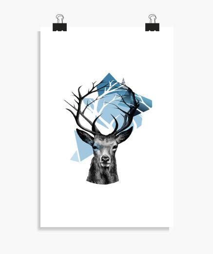 Poster cerf branches montagne et les animaux