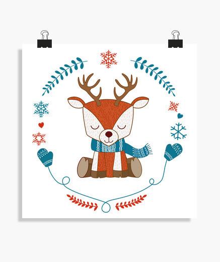 Poster Cerf en hiver