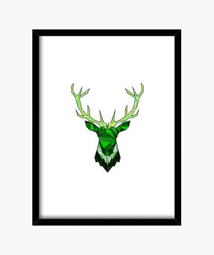 Cuadro Cerf Hipster Vert