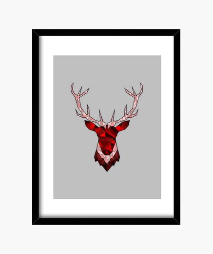 Cadre cerf rouge hippie