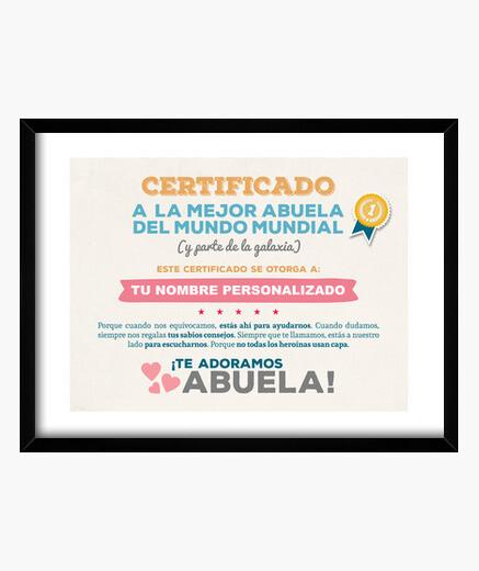 Cuadro Certificado a la Mejor Abuela del Mundo (NOMBRE PERSONALIZADO) **LEER DESCRIPCIÓN**