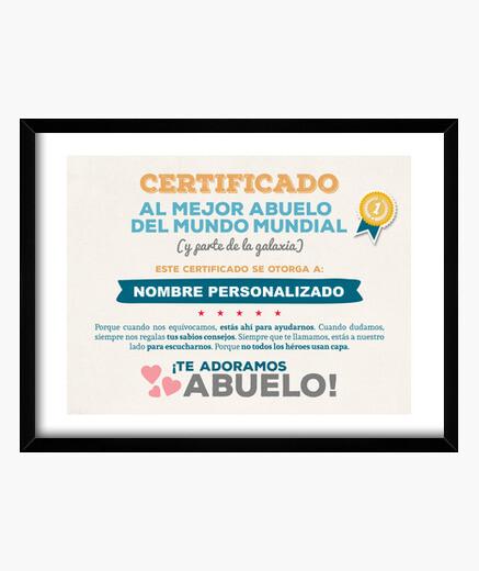 Cuadro Certificado al Mejor Abuelo del Mundo (NOMBRE PERSONALIZADO) **LEER DESCRIPCIÓN**