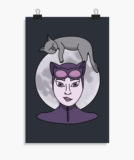 Poster chats amoureux de la lune (sans fond)