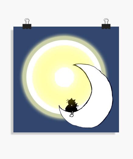 Poster chats sur la lune 2