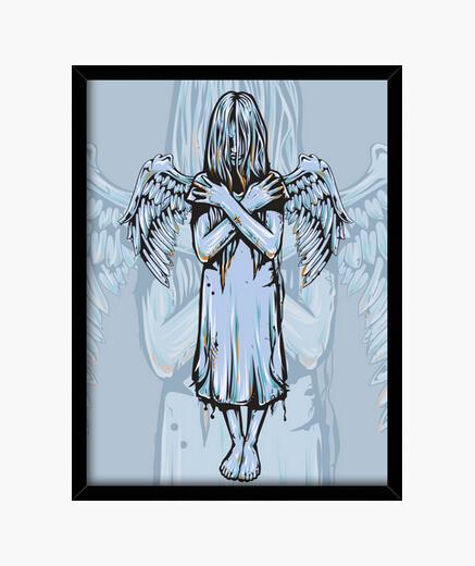 Cuadro chica ángel gana sus alas