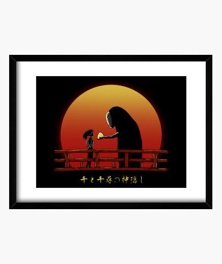 Chihiro on sunset framed print