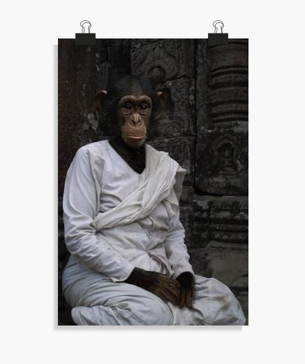 Póster Chimpancé budista