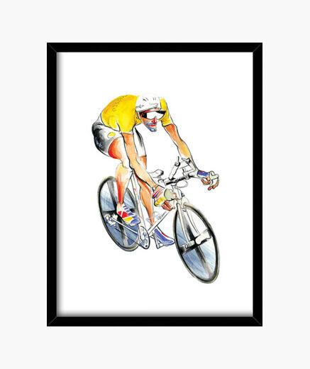 Cuadro ciclista de jersey amarillo