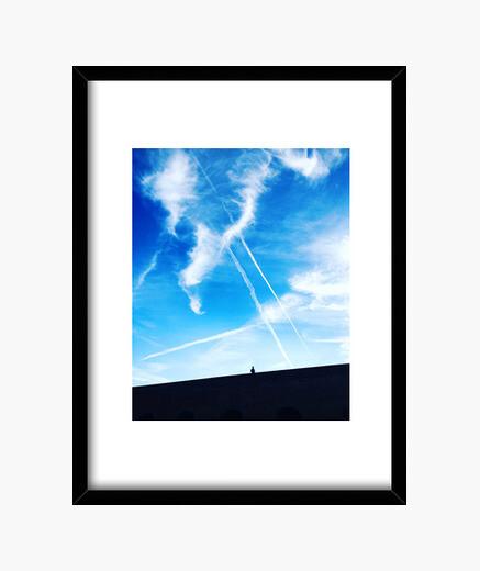Cielo Azul - Cuadro con marco negro vertical 3:4 (15 x 20 cm)