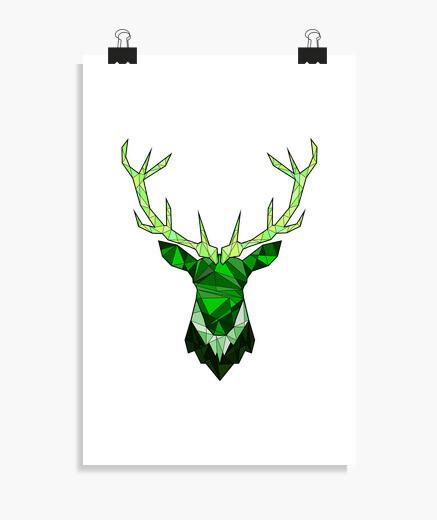 Póster ciervo inconformista verde
