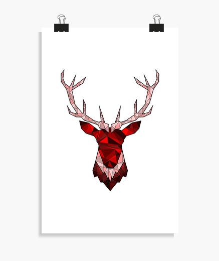 Póster ciervos hipster rojo