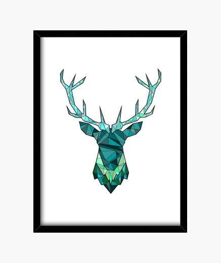 Cuadro ciervos inconformista azul