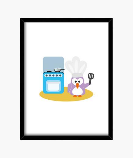 Cuadro cocinero del pingüino