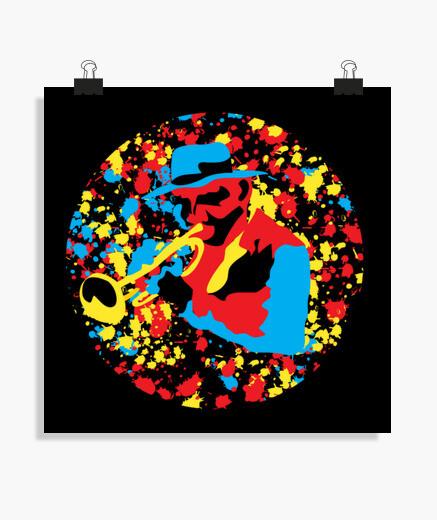 Póster colorido trompetista