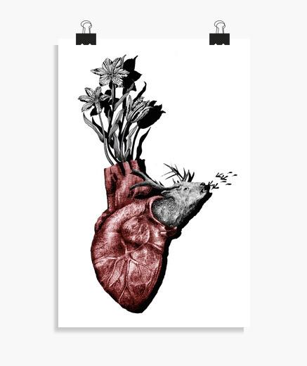 Póster Corazón animal, ciervo y flores