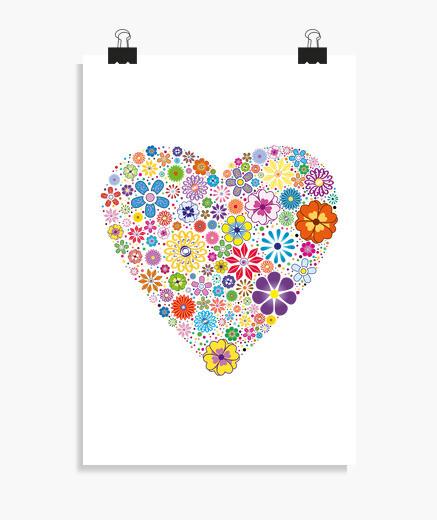 Póster Corazón de flores