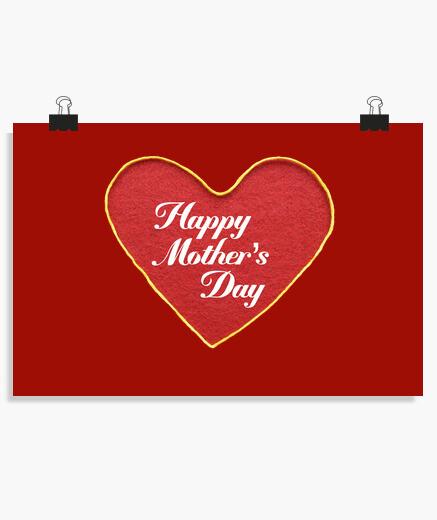 Póster Corazon feliz dia de la madre