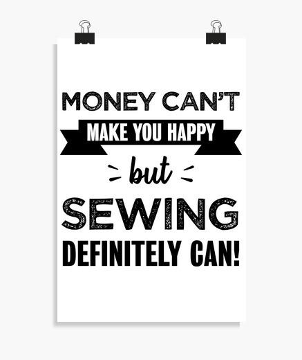 Póster coser te hace feliz regalo divertido