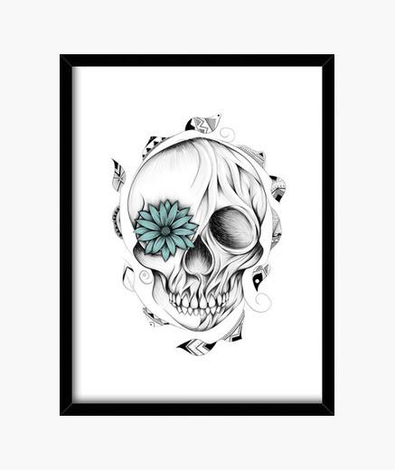 Cuadro cráneo de madera poética