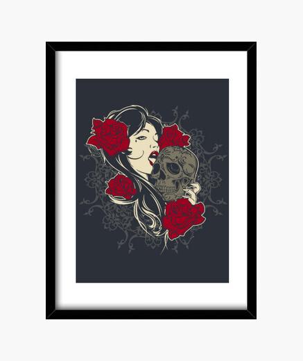 Quadro cranio, rose, ragazza