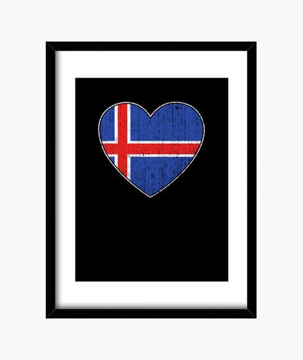 Cuadro bandera de islandia amor corazon