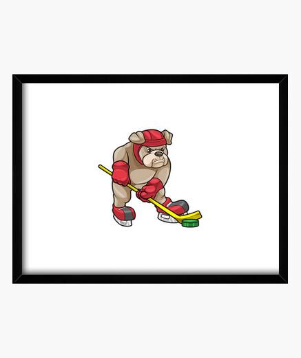 Cuadro Bulldog en hockey sobre hielo con palo