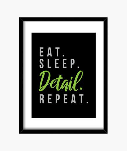 Cuadro comer dormir detalle repetir coches...
