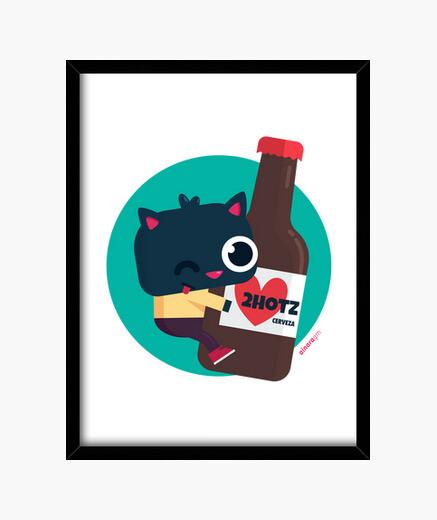 Cuadro con marco negro Gato con cerveza 2hotz (varios formatos)