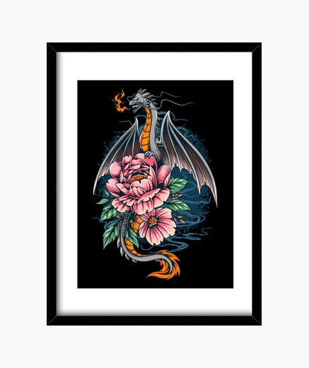 Cuadro Dragon sobre flores - 1724233