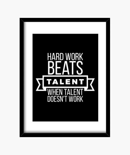 Cuadro el trabajo duro bate talento blanco