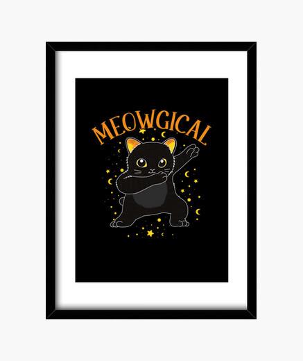 Cuadro frotando gato negro magia brujería...