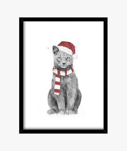 Cuadro gato de navidad